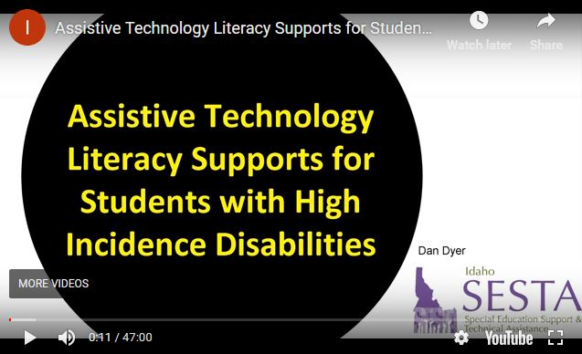 Assistive Technology Literacy Supports for Students with High Incidence Disabilities